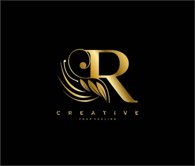 Initial r letter luxury beauty flourishes ornament golden monogram logo