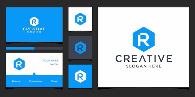 Initial r logo with business card template