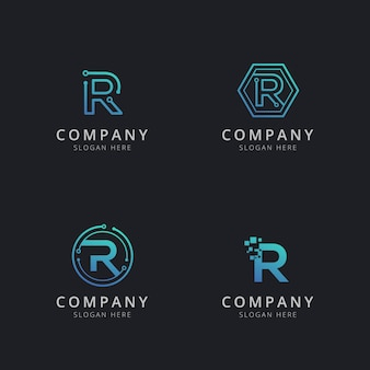 Initial r logo with technology elements in blue color