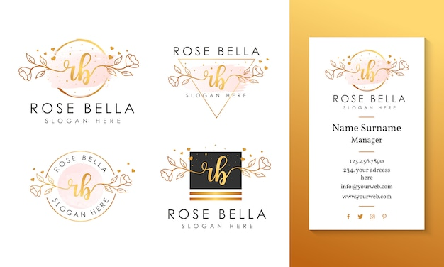 Initial rb feminine logo collections template.