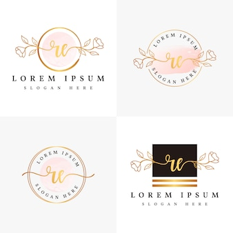 Initial re feminine logo collections template.