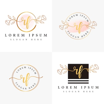 Initial rf feminine logo collections template.