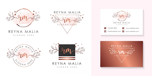 Initial rm feminine logo collections template.