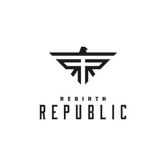 Initial rr and eagle symbol logo design