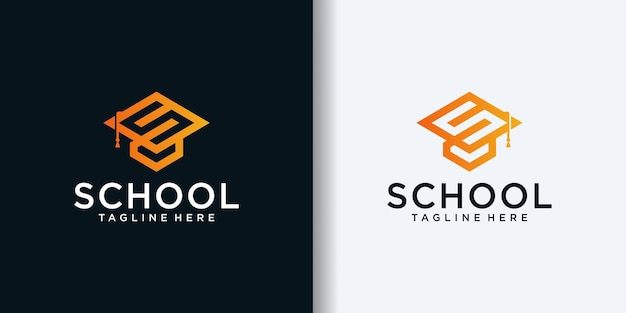 Initial s combined with toga hat icon for education business logo design template