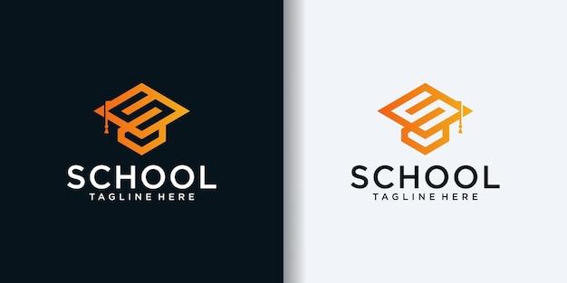 교육 비즈니스 로고 디자인 서식 파일을 위한 토가 모자 아이콘과 결합된 이니셜 s