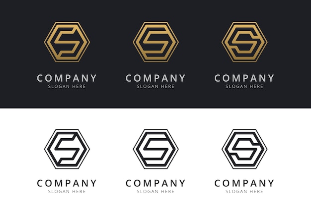 Initial s logo inside hexagon shape in gold and black color