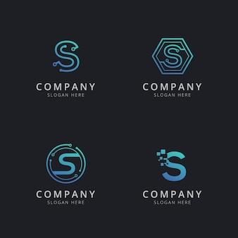 파란색 기술 요소가있는 초기 s 로고