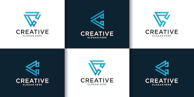 C 로고 디자인 영감의 초기 세트