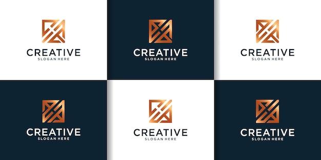 Hロゴデザインのインスピレーションの初期セット
