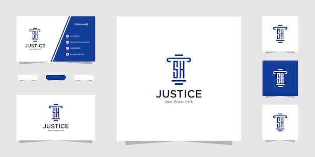 Шаблон логотипа initial sh law firm и визитная карточка