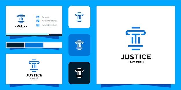 Шаблон логотипа initial t law firm и визитная карточка