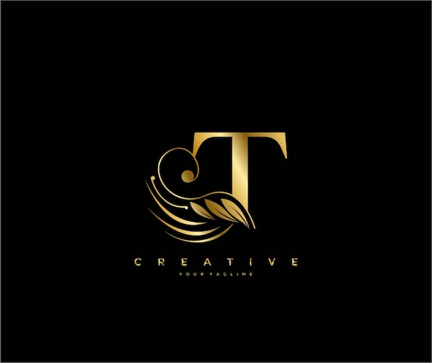 Initial t letter luxury beauty flourishes ornament golden monogram logo
