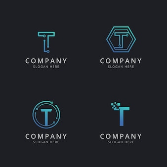 Initial t logo with technology elements in blue color