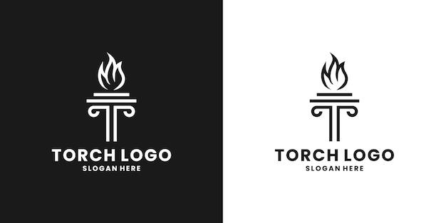 Буквица t с вектором дизайна логотипа факела
