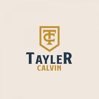 Первоначальный шаблон логотипа эмблемы моногамы tc ct ct. векторная иллюстрация