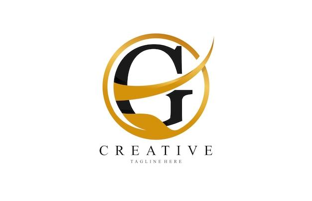 Initial typography g stylish swoosh gold circle leaf logo