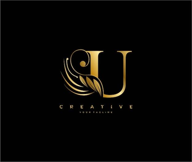 초기 u 문자 럭셔리 아름다움이 장식 황금 모노그램 로고를 번성합니다.