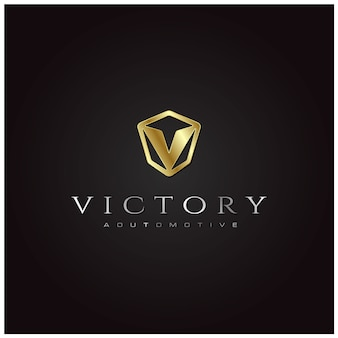 Initial v car emblem logo with 3d gold silver metal plate effect