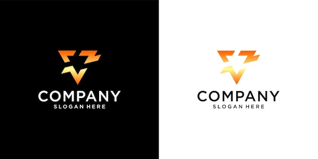 Initial v logo with business card template