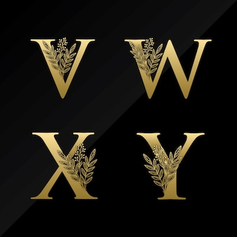 Initial v w x y letter logo with simple flower in gold color