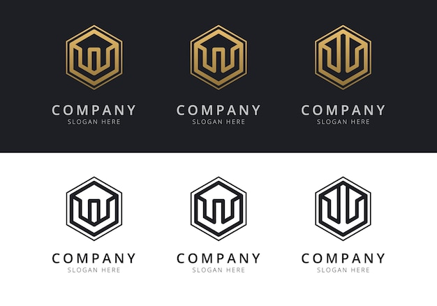 Initial w logo inside hexagon shape in gold and black color