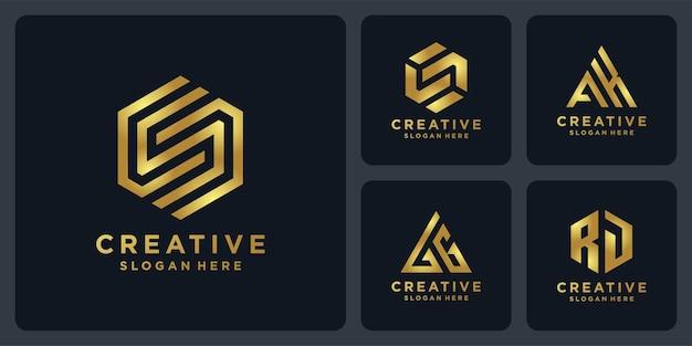 황금색 로고 디자인의 이니셜.