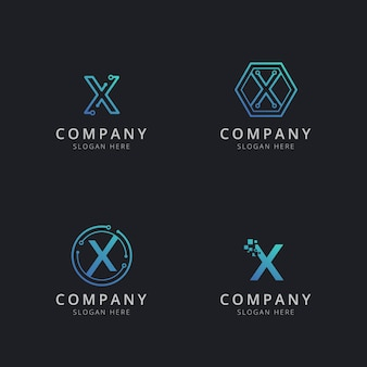 Initial x logo with technology elements in blue color