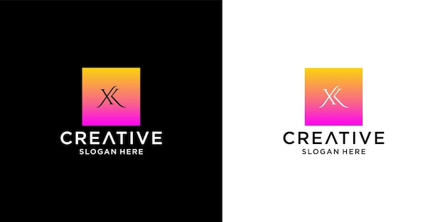 Initial xk logo with business card template