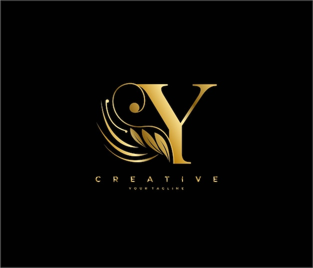 Initial y letter luxury beauty flourishes ornament golden monogram logo