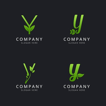 Initial y logo with leaf elements in green color