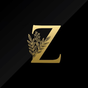 Initial z letter logo with simple flower in gold color