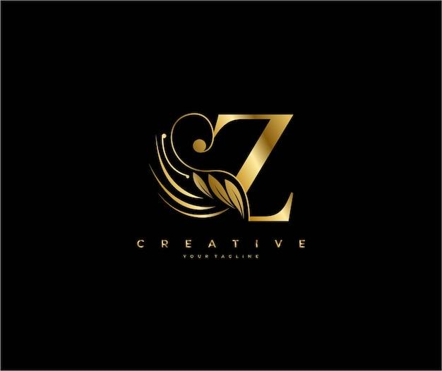 Initial z letter luxury beauty flourishes ornament golden monogram logo