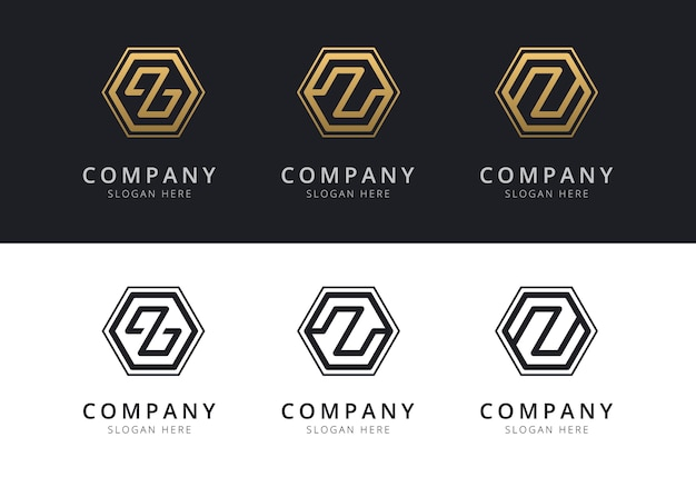 Initial z logo inside hexagon shape in gold and black color