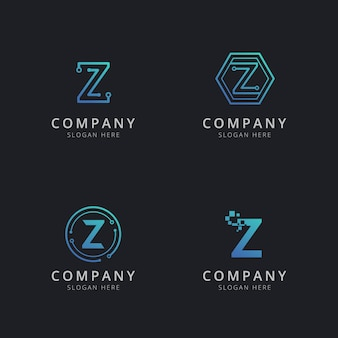 Initial z logo with technology elements in blue color