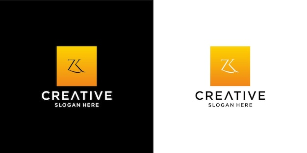 Initial zk logo with business card template