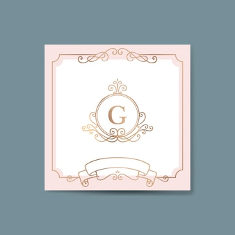 Initialed gold frame background