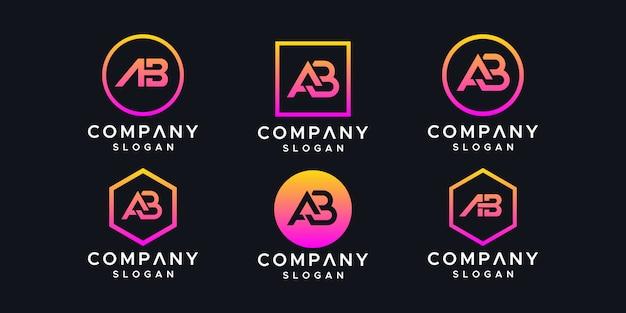 Initials ab logo design template.