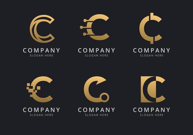 Шаблон логотипа initials c с золотистым стилем для компании