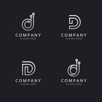 회사의 실버 스타일 색상으로 이니셜 d 라인 모노그램 로고 템플릿