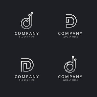 Initials d line monogram logo template with a silver style color for the company