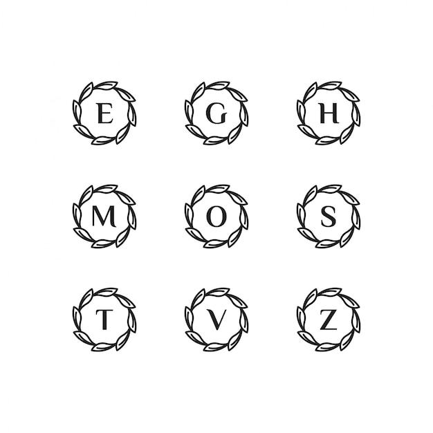 会社のブラックスタイルの色のイニシャルe、g、h、m、o、s、t、v、zロゴテンプレート