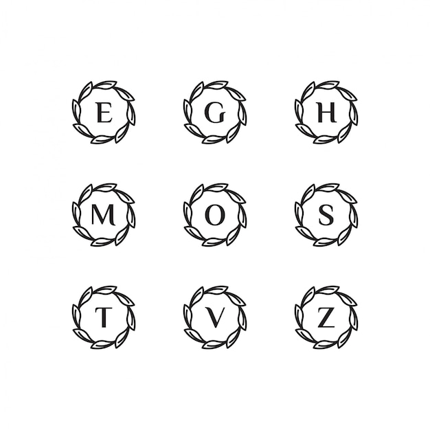 Initials e, g, h, m, o, s, t, v, z logo template with a black style color for the company