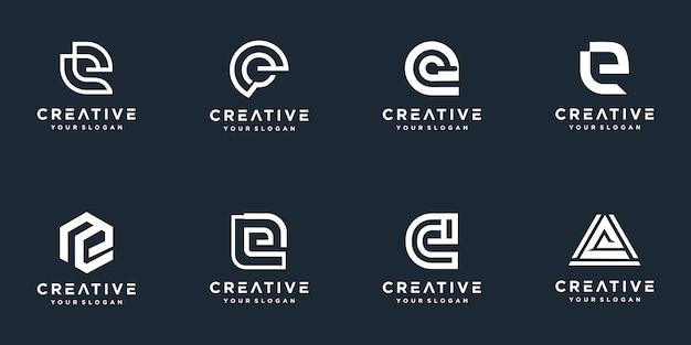 Initials e line monogram logo template
