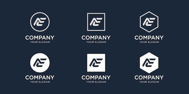 Initials a e logo design template