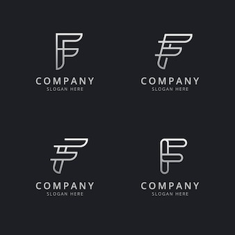 Initials f line monogram logo template with a silver style color for the company