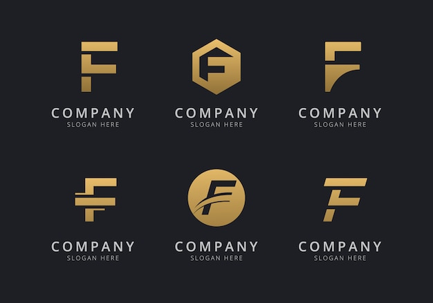 Initials f logo template with a golden style color for the company