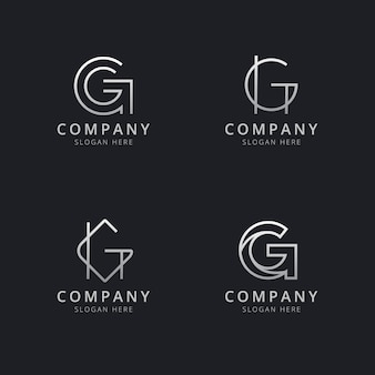 Initials g line monogram logo template with silver style color for the company