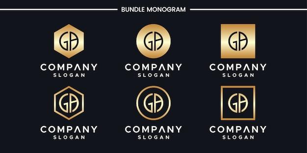 イニシャルgaロゴデザインテンプレート。