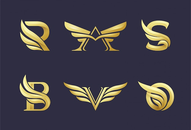 Initials gold logo with a combination of wing elements